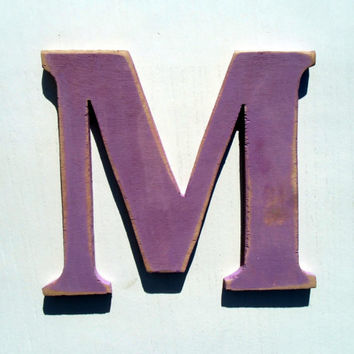personalized wood letter M hanging decor rustic 8 inc Distressed wooden letter wall hanging nursery wood names cottage chic