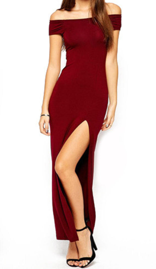 da2ec422a657 Wine Red Off Shoulder Cut-Out Back from Trinity