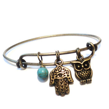 Hamsa Bangle Bracelet Yoga Jewellery Turquoise Hand of Fatima Owl Evil Eye Protection Adjustable Gift For Her Christmas Stocking Stuffer