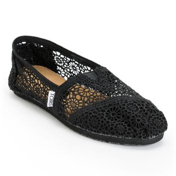 Toms Classics Black Crochet Women's Slip On Shoe