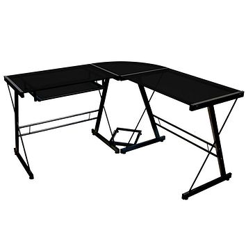 Black Metal and Glass Corner L-Shaped Computer Desk