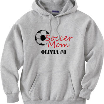 Soccer mom hoodie sweatshirt.  Personalized with player's name and number.  Soccer ball.