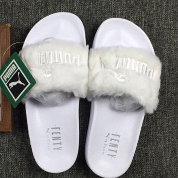 """PUMA"" Rihanna Fenty Leadcat Fur Slipper shoes White"