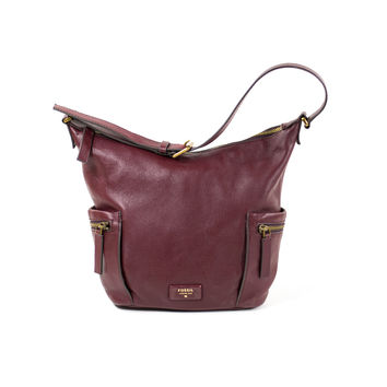Burgundy Wine FOSSIL Leather Satchel Tote Purse Bag