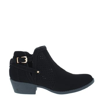 Cut Out Buckle Ankle Bootie (BLACK)