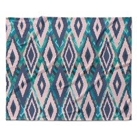"Nika Martinez ""Tribal Ikat"" Blue Pattern Fleece Throw Blanket"