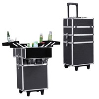Songmics Alumi 4-in-1 Rolling Makeup Train Case Cosmetic Trolley Box with Lift Handle and Lock 2-wheel UJHZ01B