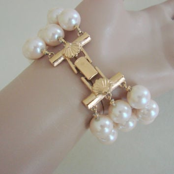 60s-70s Richelieu Three-Strand Faux Pearl Bracelet (Ornate Shell Goldtone Clasp)