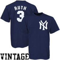 Majestic New York Yankees #3 Babe Ruth Navy Blue Cooperstown Classic Jersey T-shirt