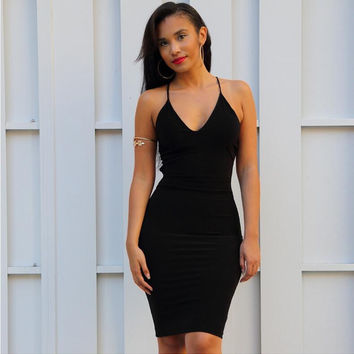 Black Halter Backless Body-con Dress