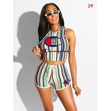 Champion New fashion letter print stripe hooded vest top and shorts two piece suit women 2#