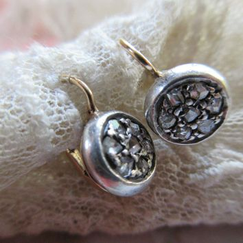 Antique Rose Cut Diamond Earrings   Silver and 10K Gold