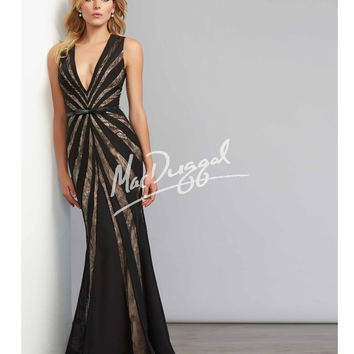 Mac Duggal 7511C Black & Nude Striped Sexy V-Neck Gown 2015 Prom Dresses