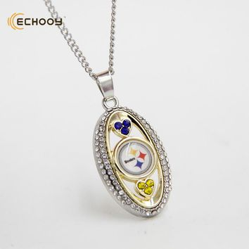 woman classic jewelry Personalized Pittsburgh Steelers Pendant Necklaces Custom football team logo necklace Bridesmaid Gift