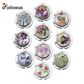 10PCS Flower Portable Folding Alloy Purse Handbag Bag Hanger Hook Holder Purple Newest Bag Parts Gifts Party christmas Gift