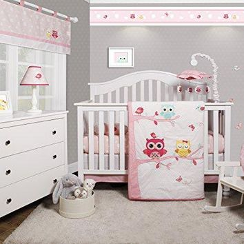 Enchanted Owls Family 6 Piece Baby Girl Nursery Crib Bedding Set