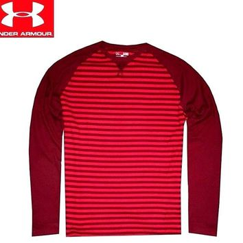 Under Armour Men Waffle LS T-Shirt Burgundy Red Stripes 1282941-625