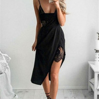 Sexy V-neck Lace Patchwork High Waist Split Spaghetti Strap One Piece Dress [8390061313]