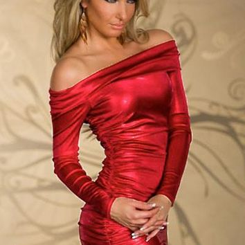 Womens Red Ruched Off-shoulder Sleeves Mini Dress (d)