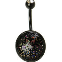 14G Steel Iridescent & Black Filigree Opal Navel Barbell