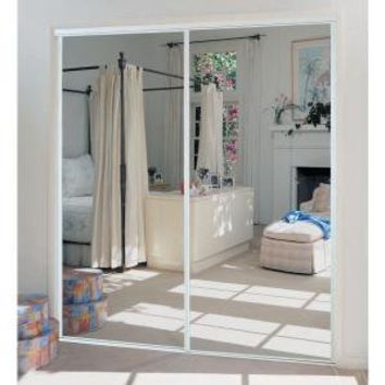 TRUporte, 230 Series 72 in. x 80 in. Steel White Mirror Sliding Door, 341420 at The Home Depot - Mobile