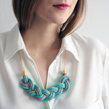 Braided rope necklace / statement necklace / bib necklace in teal and neon pink