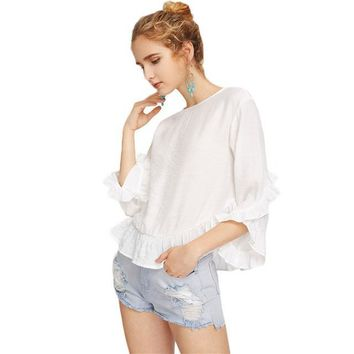 Women's White Three Quarter Length Sleeve Keyhole Back  Frill Blouse