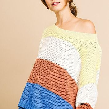 Colorblocked Long Sleeve Knit Pullover Sweater