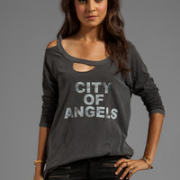 Chaser City of Angels Deconstructed Long Sleeve Raglan in Black from REVOLVEclothing.com