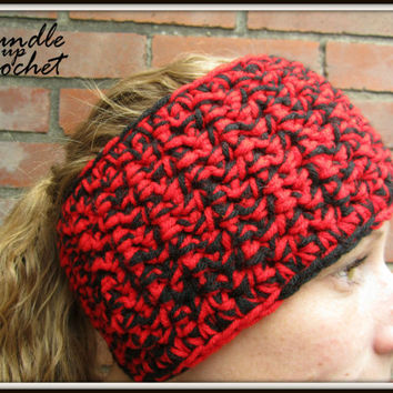 Crochet Headband Fall Winter Warm Soft Cozy Headband Earwarmer Accessory with Two Colors Ear Warmer Red & Black