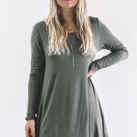 In The Jungle Green Long Sleeve Dress