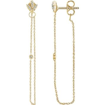 14K White Rose Yellow Gold Ethically Mined Natural Diamond Chain Earrings
