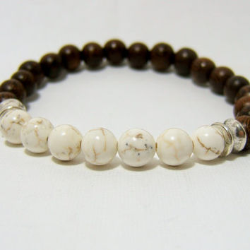 "MAGNESITE & Madre de Cacao Wooden Bead Bracelet ~ 8mm Beads with Antiqued Silver Barrel Beads ~ stretch cord, 7.5"" ~ Handcrafted Wood Beads"