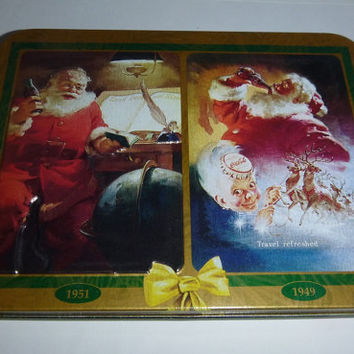Vintage Coca Cola Tin Christmas Nostalgia Tin Cards Collectible 40's 50's Limited Edition Santa Claus Coke Christmas Theme Playing Cards