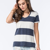 Others Follow Womens Striped Pocket Tee Blue  In Sizes