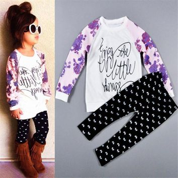 2 Pc Girl Enjoy The Little Things Long Sleeve Shirt with Bow Print Pants Sizes 24M -6T