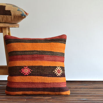 Handwoven Kilim Pillow Cover - Throw Pillow 18x18 - Organic Shine Bohemian Pillow Cover - Orange, Brown, Red, Beige - Vintage Kilim Cushion