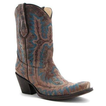 DCCKAB3 Corral Brown Turquoise Stitched Boots G1121