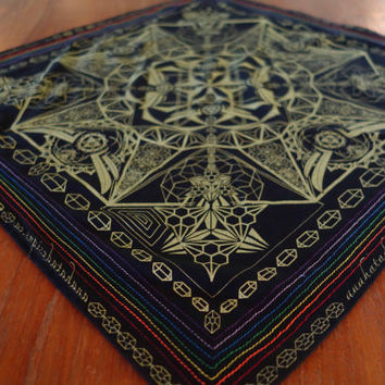 Hella Sacred™ Gem Tessaract Bandanna 2013 edition, handmade, hand stitched, festival wear, black, gold