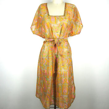 Kaftan Dress / Tunic Caftan / Swim Coverup / Hand Made / Vintage Indian Chiffon Sari / Orange Pink Bird Print / Limited Edition