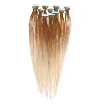 Straight Ombré Tape-In Hair Extensions - Light Golden Brown (#12) to Platinum Blonde (#613)