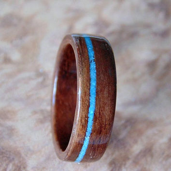 Bentwood ring Walnut and Turquoise wood wedding band