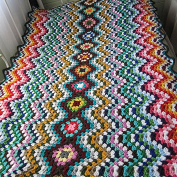 ON SALE - 10% OFF Crochet Ripple Play Blanket...Baby Crochet Lap Blanket...Colorful Knitting Patchwork Afghan...Lap blanket