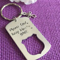 Personalized Police Officer Keychain - Police Officer Gift - Gift for Policeman - Please Lord Keep Him Safe - Gift for Police Husban