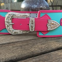 Wide Rodeo Belt Turquoise & Pink