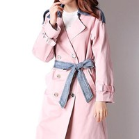 Pink and Denim Trench Coat