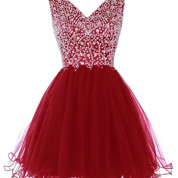 Women's Short V Neck Homecoming Dress Fitted Formal Gowns With BeadsSequins