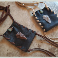 dance in dream  time ... arrowhead and turquoise medicine pouch // made with recycled leather