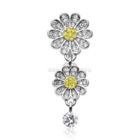 Daisy Glam Multi-Gem Reverse Belly Button Ring (Clear/Yellow)
