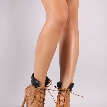 Netted Mesh Nubuck Peep Toe Lace-Up Stiletto Booties
